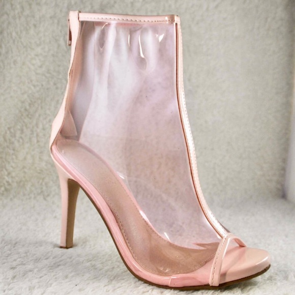 0b9e67aa9bd Clear Pink Plastic Heels Yeezy look a like Size 6